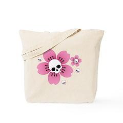 Skull Pink Blossoms Tote Bag
