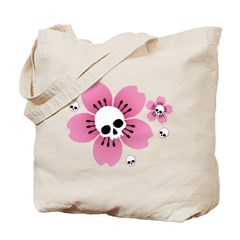 Skull Pink Blossoms Tote Bag