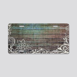 modern lace woodgrain country decor Aluminum Licen