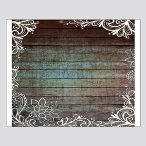 modern lace woodgrain country decor Small Poster