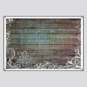 modern lace woodgrain country decor Banner