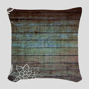 modern lace woodgrain country decor Woven Throw Pi