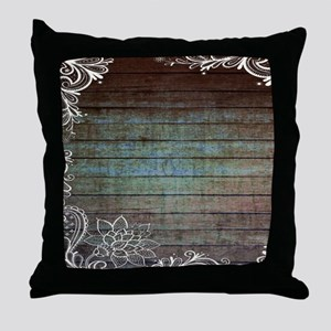 modern lace woodgrain country decor Throw Pillow