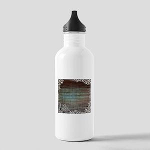 modern lace woodgrain country decor Water Bottle