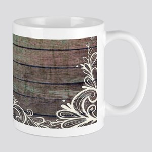 modern lace woodgrain country decor Mugs