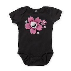 Skull Pink Blossoms Baby Bodysuit