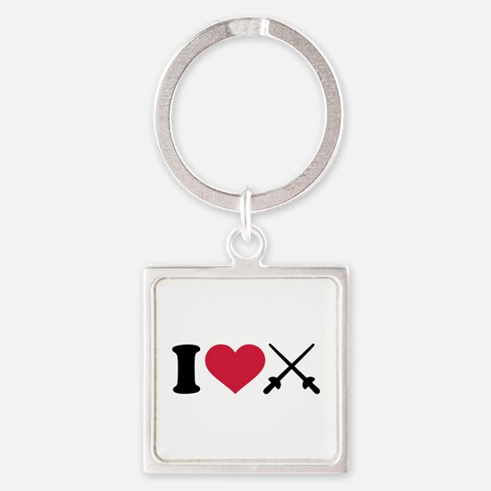 I love Fencing crossed epee Square Keychain