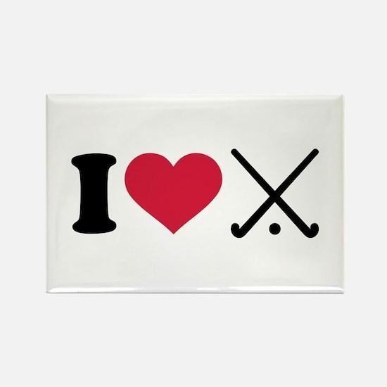 I love Field hockey clubs Rectangle Magnet