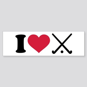 I love Field hockey clubs Sticker (Bumper)