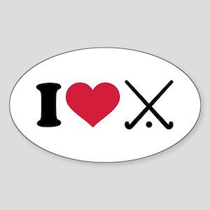 I love Field hockey clubs Sticker (Oval)