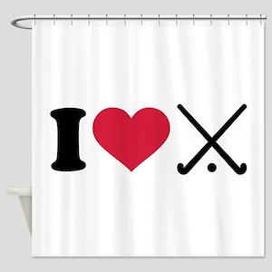 I love Field hockey clubs Shower Curtain