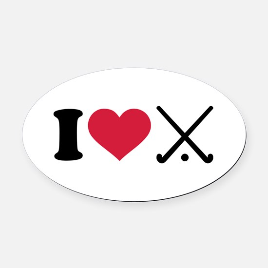 I love Field hockey clubs Oval Car Magnet