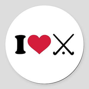 I love Field hockey clubs Round Car Magnet