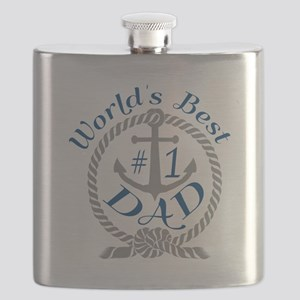 Worlds Best number 1 Dad in Anchor and Rope Flask