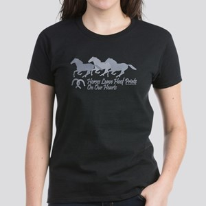 Hoof Prints On Our Hearts Women's Dark T-Shirt