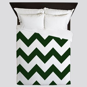 Dark Evergreen Chevron Queen Duvet