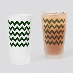 Dark Evergreen Chevron Drinking Glass