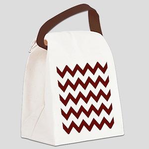 Burgundy Chevron Stripes Canvas Lunch Bag