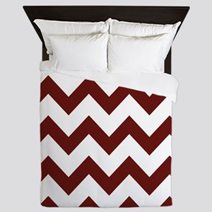 Burgundy Chevron Stripes Queen Duvet