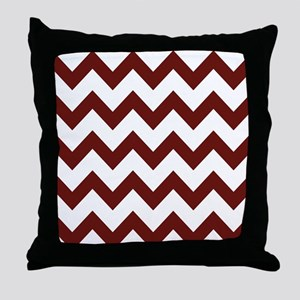 Burgundy Chevron Stripes Throw Pillow