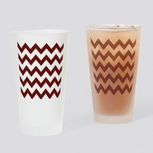 Burgundy Chevron Stripes Drinking Glass