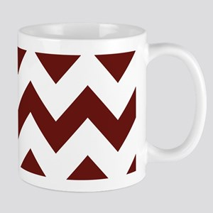 Burgundy Chevron Stripes Mugs