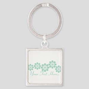 Custom Mint Green Fantasy Floral Keychains