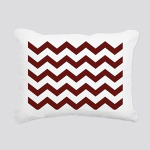 Burgundy Chevron Stripes Rectangular Canvas Pillow