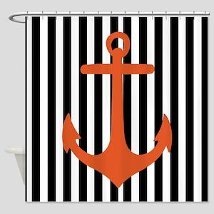 Orange Anchor on Vertical Stripes Shower Curtain