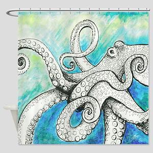 Wild Blue Octopus Shower Curtain