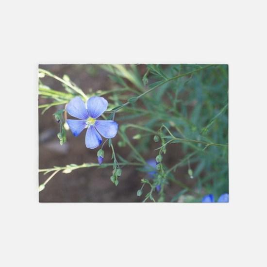 Wild Blue Flower 5'x7'Area Rug