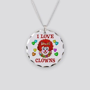I Love Clowns Necklace Circle Charm