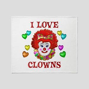 I Love Clowns Throw Blanket