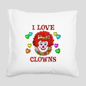I Love Clowns Square Canvas Pillow