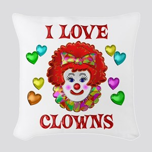 I Love Clowns Woven Throw Pillow