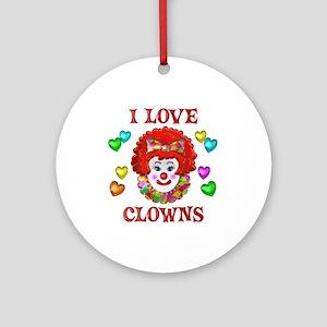 I Love Clowns Ornament (Round)