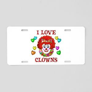 I Love Clowns Aluminum License Plate