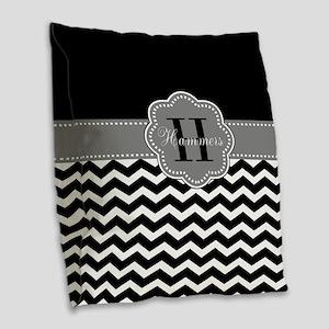 Gray Black Chevron Personalized Burlap Throw Pillo