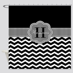 Gray Black Chevron Personalized Shower Curtain