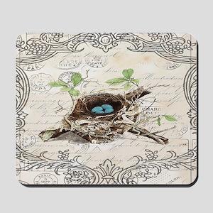 vintage bird nest french botanical art Mousepad