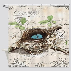 vintage bird nest french botanical art Shower Curt
