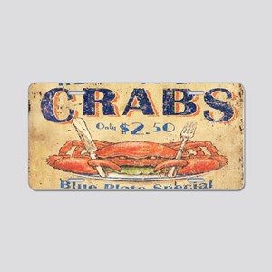 vintage crab woodgrain beach art Aluminum License