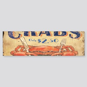 vintage crab woodgrain beach art Bumper Sticker