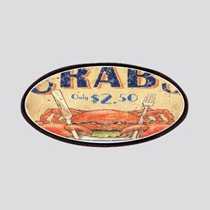 vintage crab woodgrain beach art Patches