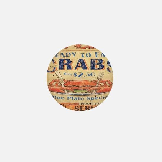 vintage crab woodgrain beach art Mini Button