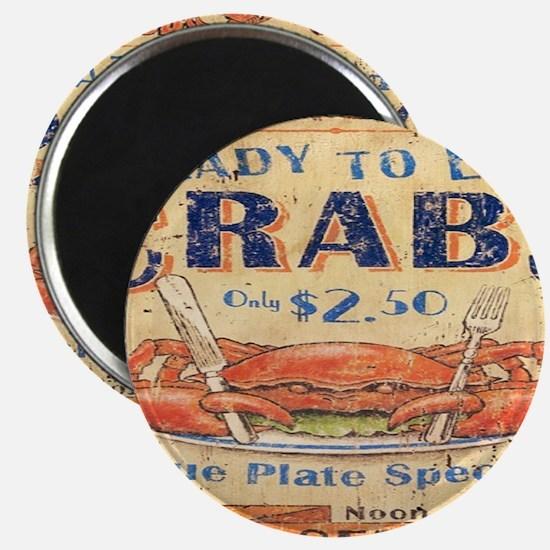 vintage crab woodgrain beach art Magnets