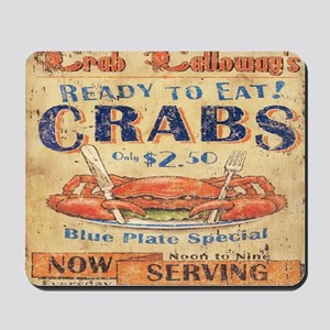 vintage crab woodgrain beach art Mousepad