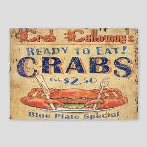 vintage crab woodgrain beach art 5'x7'Area Rug