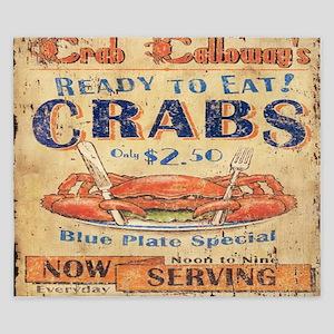 vintage crab woodgrain beach art King Duvet