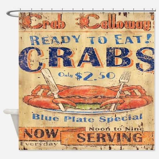 vintage crab woodgrain beach art Shower Curtain